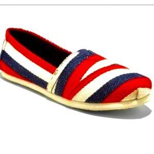 EUC red white & blue slip ons